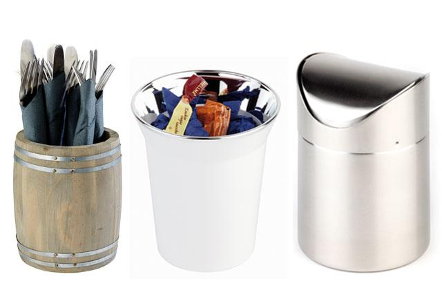 TABLE GARBAGE BINS / CUTLERY BINS