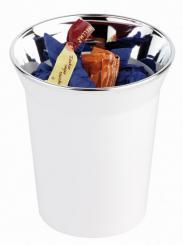 "table waste bin / cutlery bin ""TOP CHROME"" white"