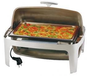 poli brillant, couvercle rolltop ouverture à 9° ou 18°, bain-marie électrique avec thermostat + bac
